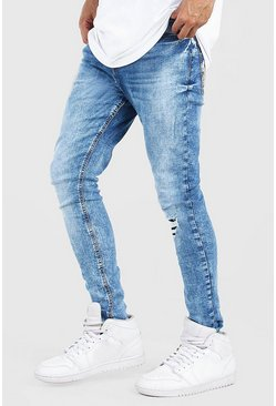 Washed blue Skinny Fit Jean With Abrasion