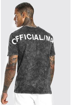 Charcoal Acid Wash Official MAN Back Print T-Shirt