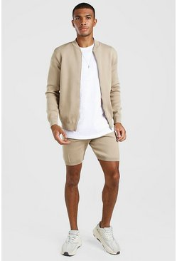 Oatmeal Smart Knitted Bomber & Shorts Set