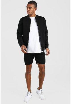 Black Smart Knitted Bomber & Shorts Set