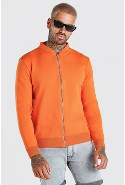 Orange Smart Knitted Bomber
