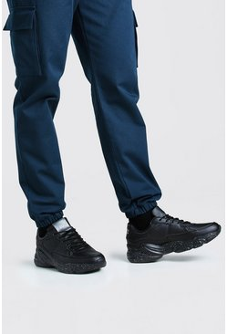 Black Man Chunky Panelled Sneakers With Speckled Sole