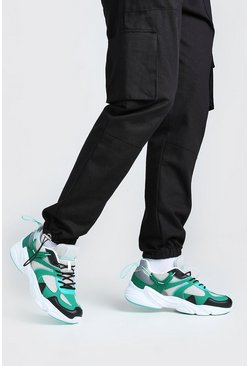 Green MAN Chunky Mesh Trainer With Toggle Detail