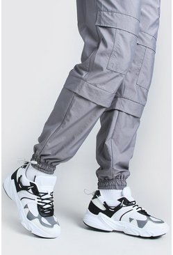 Grey MAN Chunky Mesh Trainer With Toggle Detail