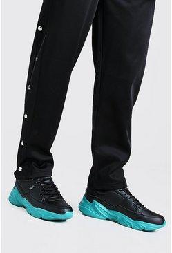 Black MAN Dash Blue Sole Chunky Trainer
