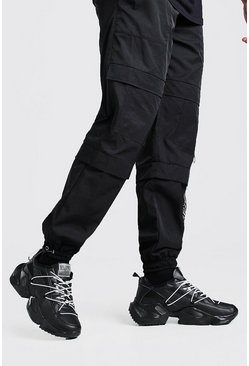 Black Man Chunky Sneakers With Contrast Bungee Laces