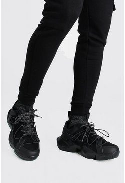 Black MAN Chunky Trainer With Reflective Sock Insert
