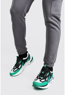 Green Man Branded Chunky Mesh Insert Sneakers