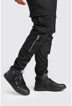 Black Man High Top Sneaker With Buckles