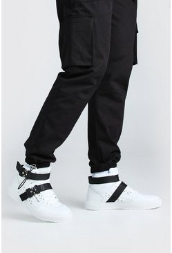 White MAN High Top Trainer With Buckles