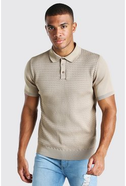 Camel Muscle Fit Cable Knit Polo