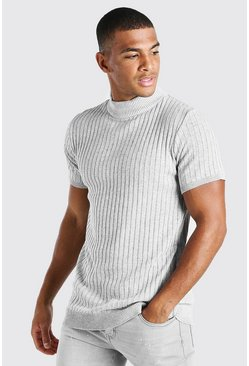 Grey Ribbed Short Sleeve Turtle Neck Knitted T-Shirt