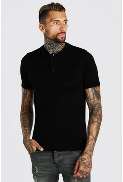 Black Muscle Fit Short Sleeve Knitted Polo
