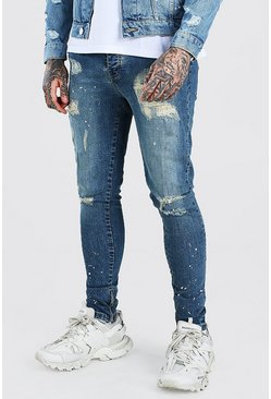 Super Skinny Jeans in Destroyed-Optik, Antikes blau