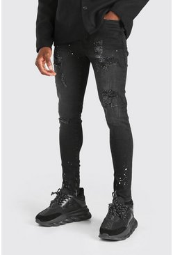 Washed black Super Skinny All Over Distressed Jeans