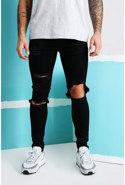 True black Super Skinny Blow Out Ripped Knee Jeans
