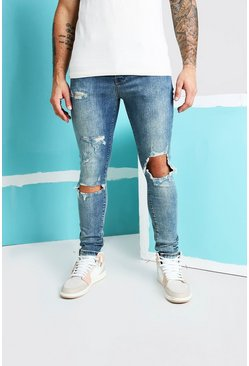 Vintage blue Super Skinny Blow Out Ripped Knee Jeans