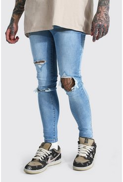 Super Skinny Blow-Out Ripped Jeans mit zerrissenen Knien, Eisblau