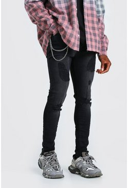 Washed black Skinny Stretch Busted Jeans with Chain