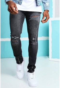 Washed black Super Skinny Jeans With Embroidery And Zips
