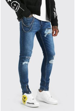 Mid blue Super Skinny Jeans With Embroidery And Zips
