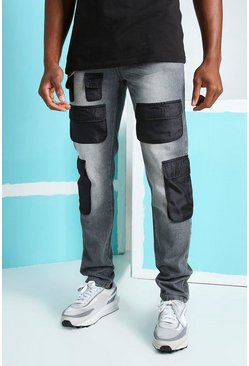 Dark grey Skinny Rigid Nylon Cargo Pocket Jeans