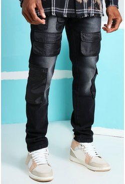 Washed black Skinny Rigid Nylon Cargo Pocket Jeans