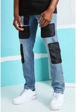 Mid blue Skinny Rigid Nylon Cargo Pocket Jeans