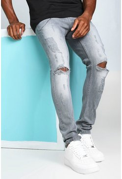 Light grey Super Skinny Busted Knee Jeans with Chain