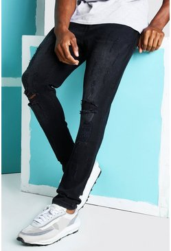 Washed black Super Skinny Distressed Busted Knee Jeans