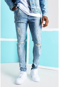 Mid blue Super Skinny Distressed Busted Knee Jeans
