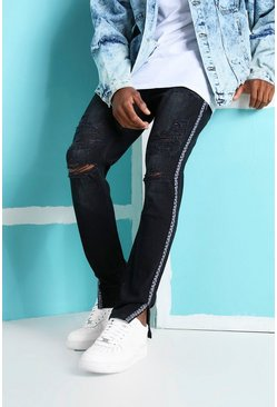 Washed black Skinny Rigid Ripped Jeans With Bandana Tape
