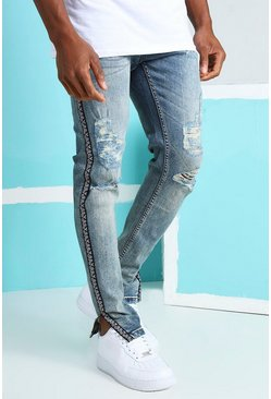 Vintage blue Skinny Rigid Ripped Jeans With Bandana Tape