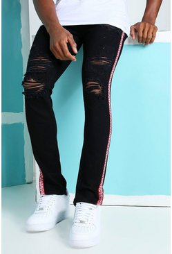 True black Skinny Rigid Ripped Jeans With Bandana Tape