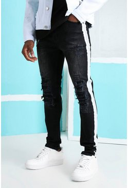 Washed black Super Skinny Rip & Repair Biker Jeans