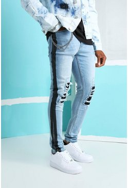 Ice blue Super Skinny Rip & Repair Biker Jeans