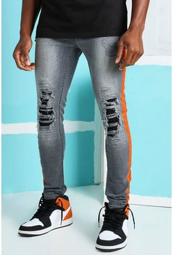 Dark grey Super Skinny Rip & Repair Biker Jeans