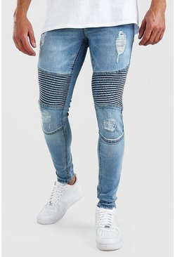 Blue Super Skinny Rip Biker Jeans With Rips