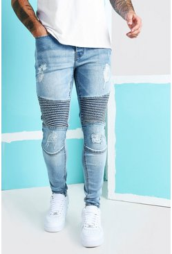 Ice blue Super Skinny Biker Jeans With Rips