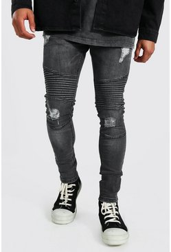 Dark grey Super Skinny Biker Jeans With Rips