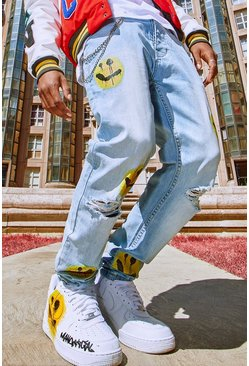 Ice blue Skinny Stretch Rip Knee Graphic Print Jeans