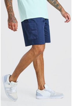 Navy Fixed Waist Cargo Short