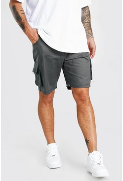 Charcoal Fixed Waist Cargo Short