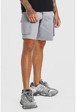 Grey Elastic Waist Cargo Short