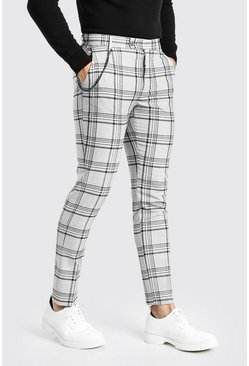 Grey Skinny Smart Check Pants With Chain