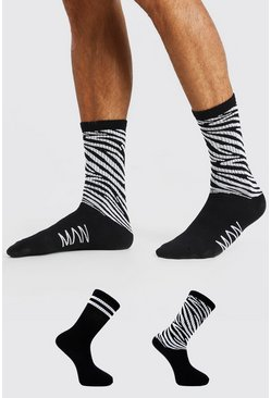 Black 2 Pack Zebra Sock