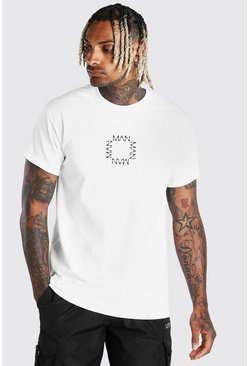 T-shirt imprimé carré Original MAN, Blanc