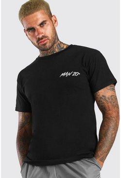 Black MAN 20 Chest Print T-Shirt