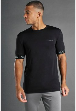 Black MAN Active Muscle Fit T-Shirt With Cuff Detail