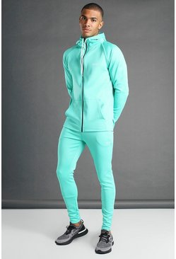 Teal MAN Active Hooded Zip Through Tracksuit